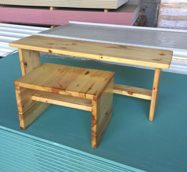 223. ספסל ושולחן יפני מעץ מלא